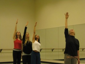 Lorry May rehearsing Stephanie Yezek, Francesca Jandasek, Stacey Yvonne Claytor